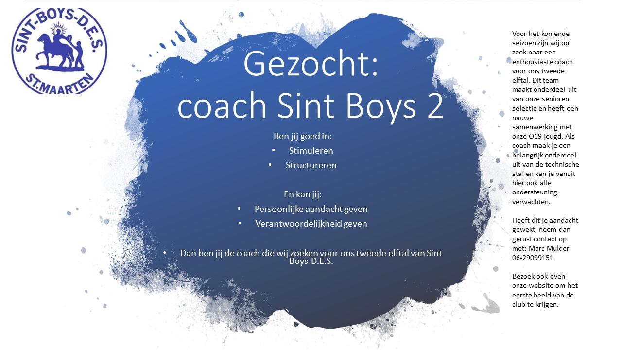 Coach 2e elftal gezocht